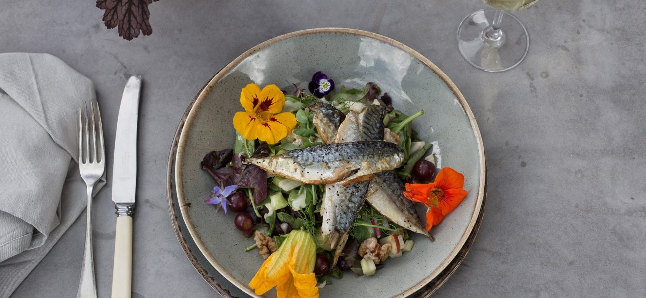 Plate of food at the Duchy Nursery with fresh fish and edible flowers from the garden.
